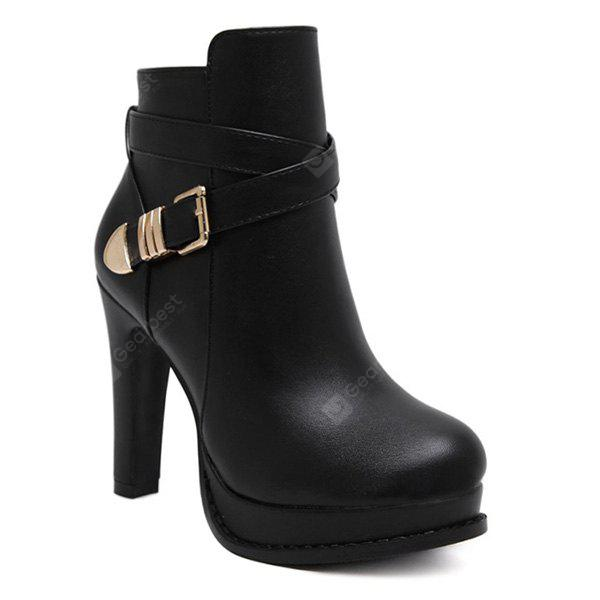 49 OFF Chunky Heel Platform Buckle Strap Ankle Boots