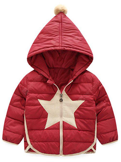 Star Patched Hooded Down Jacket