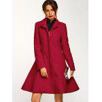 Cotton Long Skirted  Coat - DEEP RED