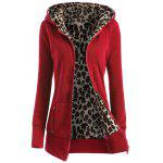 Zipper Fly Thicken Leopard Pattern Hoodie - LUMINOUS BRIGHT RED