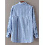Long Sleeve Embroidered Striped Shirt - AZURE