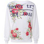 best Active Letter and Rose Print Sweatshirt