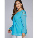 Plus Size Lacework Patchwork Blouse - LAKE BLUE
