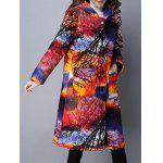 cheap Vintage Print Hooded Padded Coat
