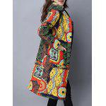 Pockets Ethnic Print Hooded Padded Coat for sale