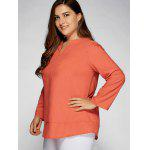 Lässige Plain Plus Size Top - HELL ROT ORANGE