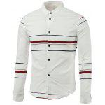Color Block Stripe col rabattu manches longues - ROUGE