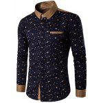 Floral Printed Contrast Insert Button Up Shirt - CADETBLUE