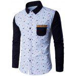 Contrast Insert Chest Pocket Printed Shirt - BLUE