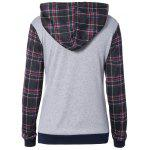 cheap Plaid Pocket Embellished String Hoodie