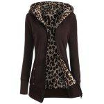 Zipper Fly Thicken Leopard Pattern Brown Hoodie - COFFEE