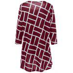 Plus Size Geometric Smock Blouse - WINE RED