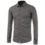 Long Sleeve Button Up Gingham Shirt - GRAY