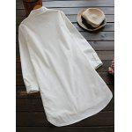 Long Buttoned Floral Embroidered Linen Shirt - WHITE