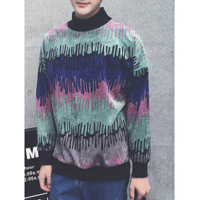 Color Block Splatter Paint Long Sleeve Sweatshirt