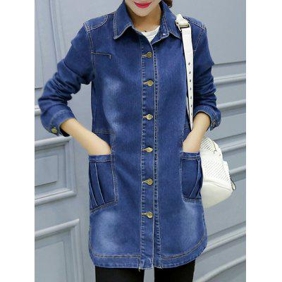 Button-Down Pocket Design Denim Coat