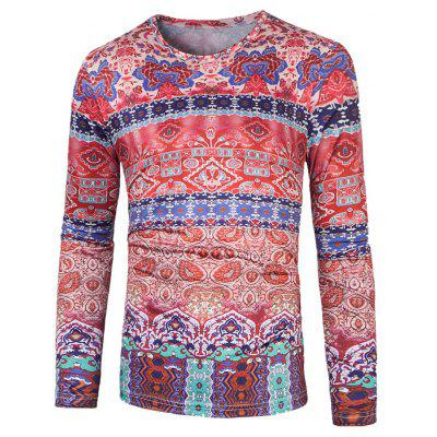 Round Neck Ornate Printing T-Shirt