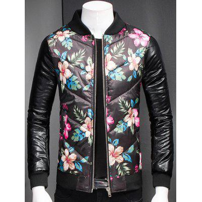 Plus Size Stand Collar Florals Print Zip-Up Padded Jacket