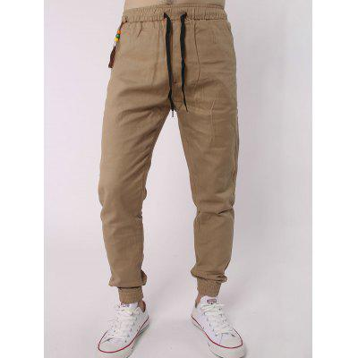 Drawstring Elastic Waist Beads Embellished Beam Feet Jogger Pants