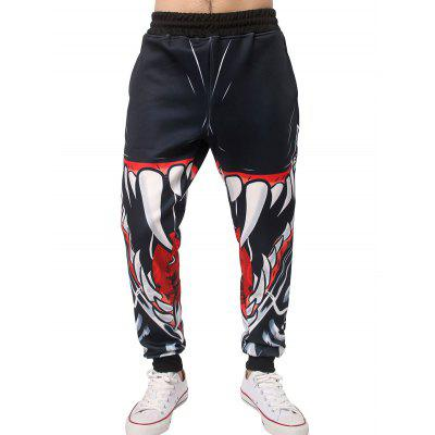3D Mouth Teeth Print Jogger Pants