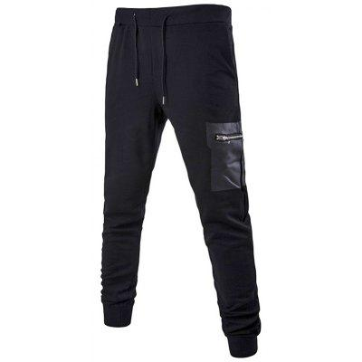 PU Zipper Pocket Drawstring Waist Jogger Pants
