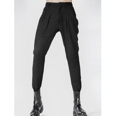Narrow Feet Zipper Fly Pleated Texture Pants