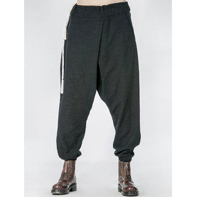Side Drawstring Drop Crotch Elatic Cuff Harem Pants