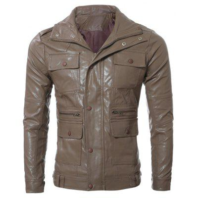 Multi Pocket Zippered Faux Leather Jacket