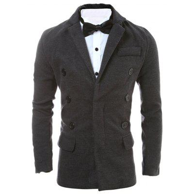 Button Embellished Notch Lapel Back Vent Jacket