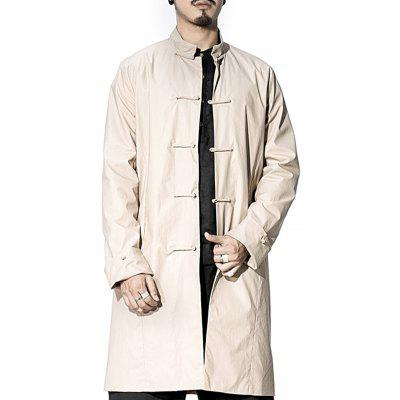 Mandarin Collar Frog Button Cuffed Coat
