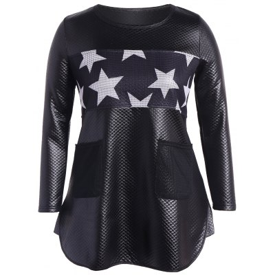 Faux Leather Stars Tunic Top