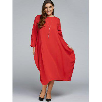 Plus Size Long Sleeve Midi Dress