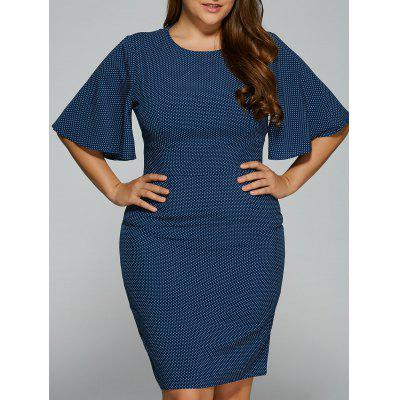 Polka Dot Packet Buttock Plus Size Dress