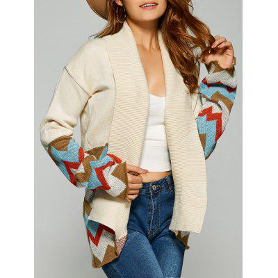 Drop Shoulder Zigzag Cardigan