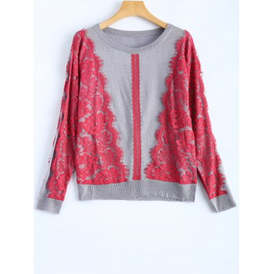 Buy GRAY Lace Applique Pullover Sweater for $31.03 in GearBest store