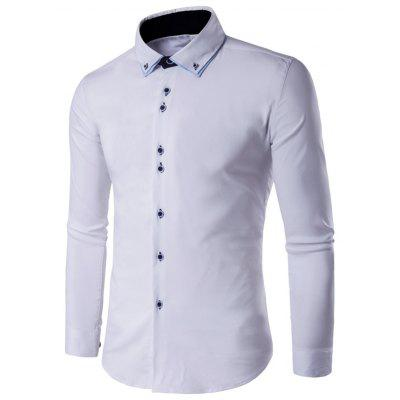 Male Double-layer Collar Button Up Long Sleeve Formal Shirt