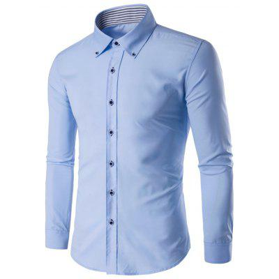 Male Slim Fit Long Sleeve Button Down Collar Formal Shirt