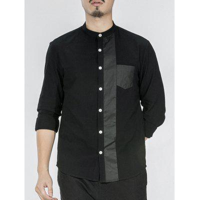 Chest Pocket Stand Collar Button Up Insert Shirt