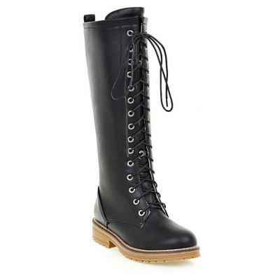 Vintage PU Leather Lace Up Mid Calf Boots