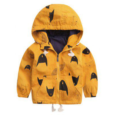 Hooded Zipped Printed Jacket