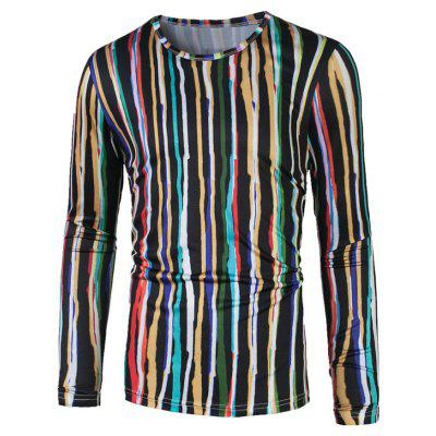 Long Sleeve Colorful Vertical Striped T-Shirt