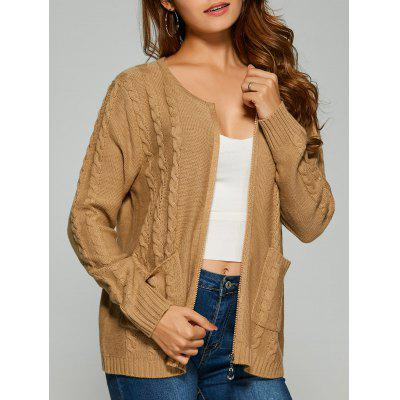 Camel Cable Knit Cardigan With Pockets ONE SIZE-$18.57 Online ...
