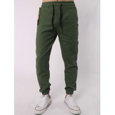Buy ARMY GREEN Drawstring Elastic Waist Beads Embellished Beam Feet Jogger Pants for $8.86 in GearBest store