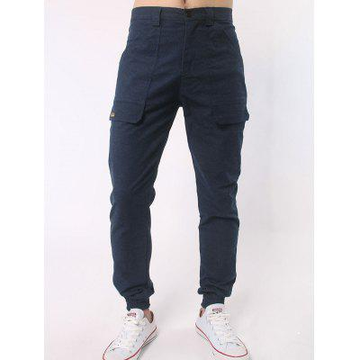 Zipper Fly Letter Label Jogger Pants