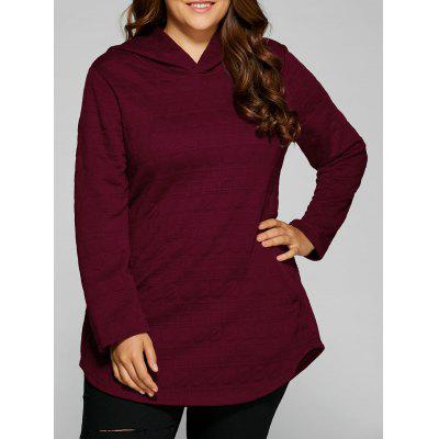 Plus Size Vertical Pockets Emboss Hoodie
