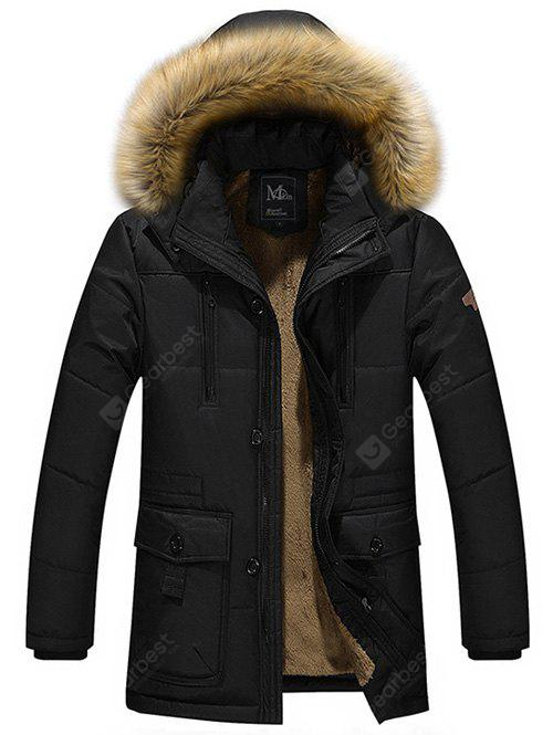 Buy Multi Pocket Faux Fur Hooded Zippered Flocking Jacket BLACK