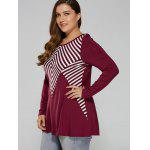 Plus Size Striped Patchwork T-Shirt - ROT & WEIß