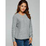 cheap Comfy Double Pockets Cable Knit Sweater