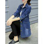 Button-Down Pocket Design Denim Coat - DENIM BLUE