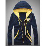 Hooded Color Block Splicing Zip-Up Embroidered Hoodie - CADETBLUE